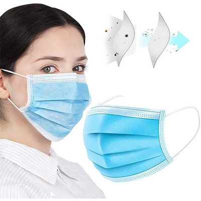 Printed Logo Disposable Blue Mask -3 Ply Health Face Mask, PPE Product